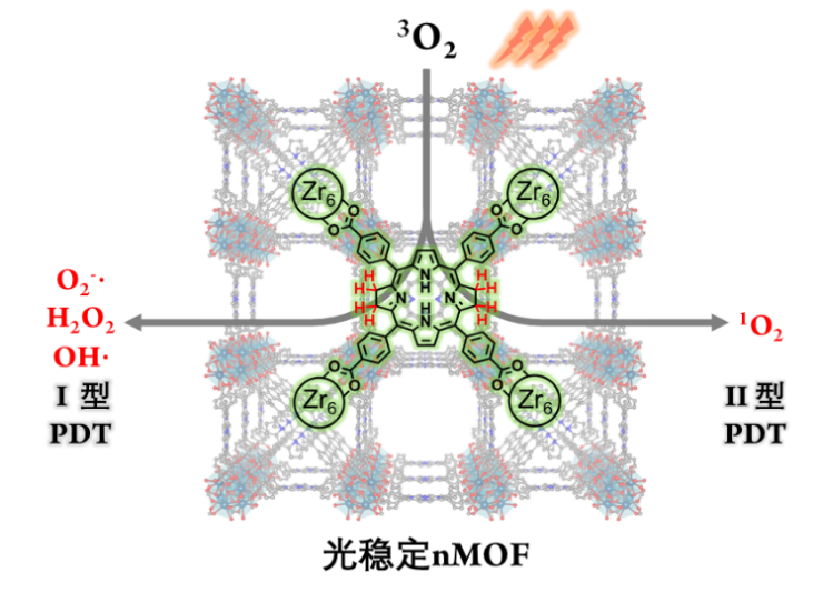 纳米MOF稳定细菌卟啉用于I型和II型同步的光动力疗法